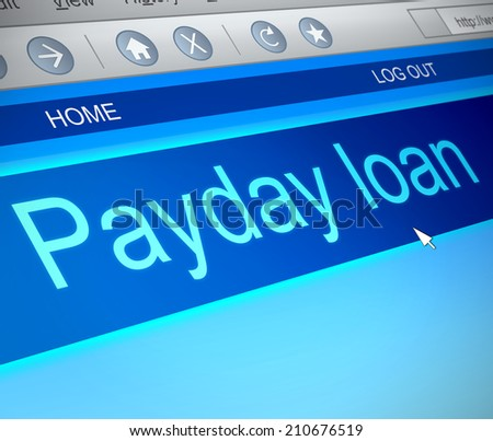 Illustration depicting a computer screen capture with a payday loans concept. - stock photo