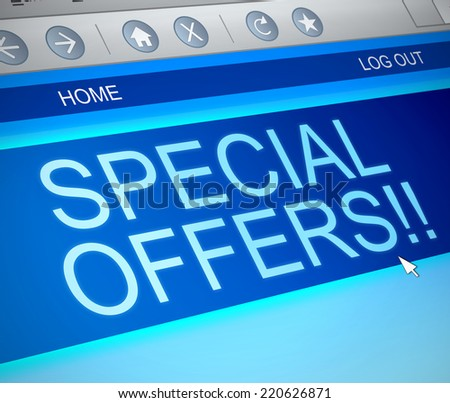 Illustration depicting a computer screen capture with a special offers concept. - stock photo
