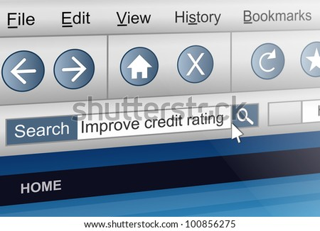Illustration depicting a computer screen shot with a credit rating  search concept. - stock photo