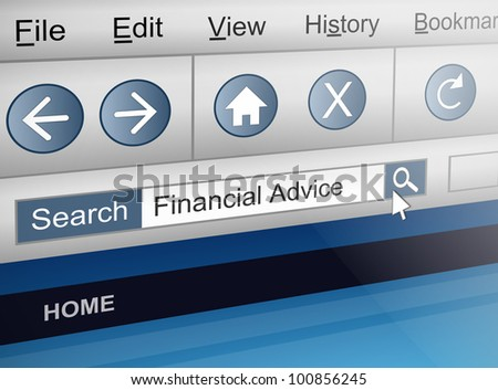 Illustration depicting a computer screen shot with a financial adviser search concept. - stock photo