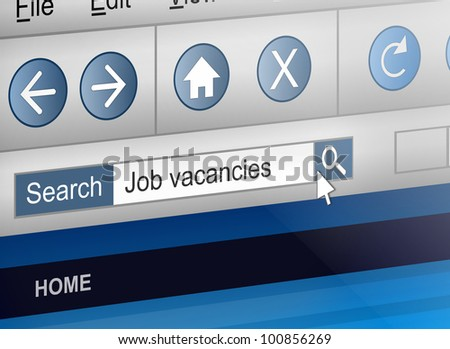 Illustration depicting a computer screen shot with a job search concept. - stock photo