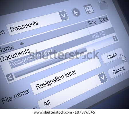 Illustration depicting a computer screen shot with a resignation letter concept.
