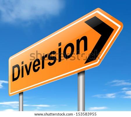 Illustration depicting a diversion sign. - stock photo