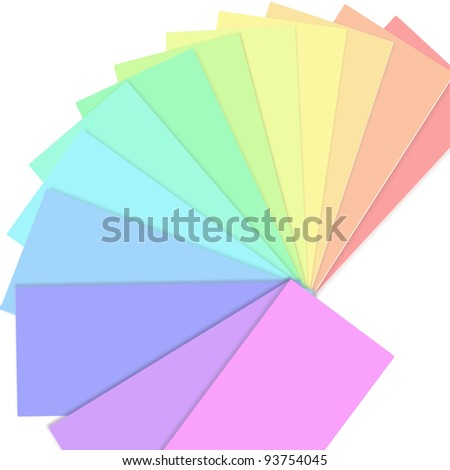 Illustration depicting a fan of colour swatch cards arranged over white. - stock photo