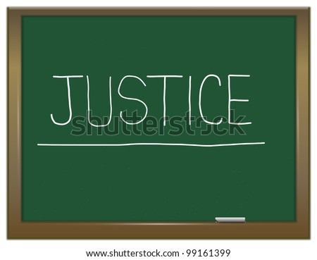 Illustration depicting a green chalkboard with a justice concept written on it. - stock photo