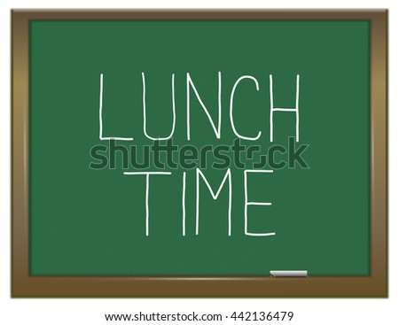 Illustration depicting a green chalkboard with a lunch time concept. - stock photo