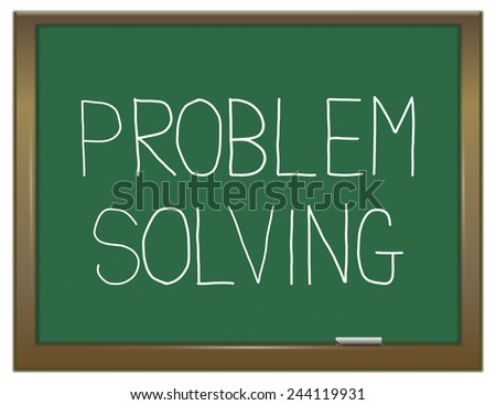 Illustration depicting a green chalkboard with a problem solving concept. - stock photo