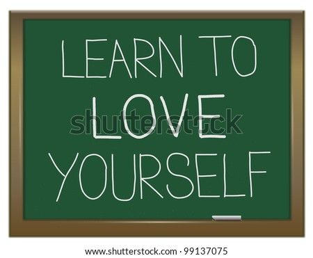 Illustration depicting a green chalkboard with a self worth concept written on it. - stock photo
