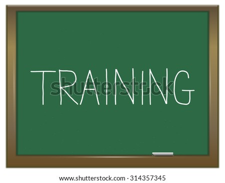 Illustration depicting a green chalkboard with a training concept. - stock photo