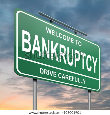 Illustration depicting a green roadsign with a bankruptcy concept. Cloudy sunset background. - stock photo