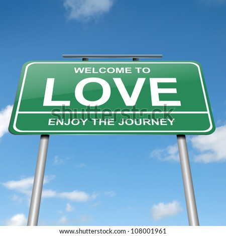 Illustration depicting a green roadsign with a love concept. Blue sky background.
