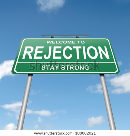 Illustration depicting a green roadsign with a rejection concept. Blue sky background. - stock photo