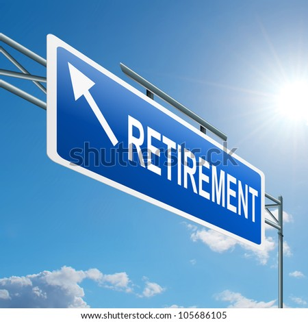 Illustration depicting a highway gantry sign with a retirement concept. Blue sky background. - stock photo