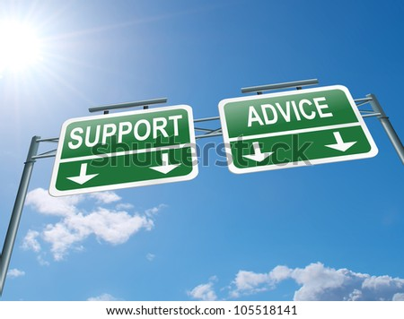 Illustration depicting a highway gantry sign with an advice or support concept. Blue sky background. - stock photo