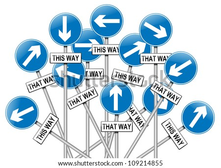 Illustration depicting a large number of directional roadsigns in a chaotic arrangement. White  background. - stock photo