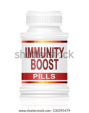 Illustration depicting a medication container with an immunity boost concept. - stock photo