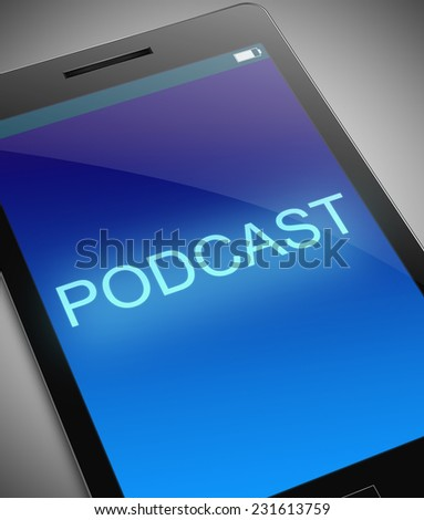 Illustration depicting a phone with a podcast concept. - stock photo