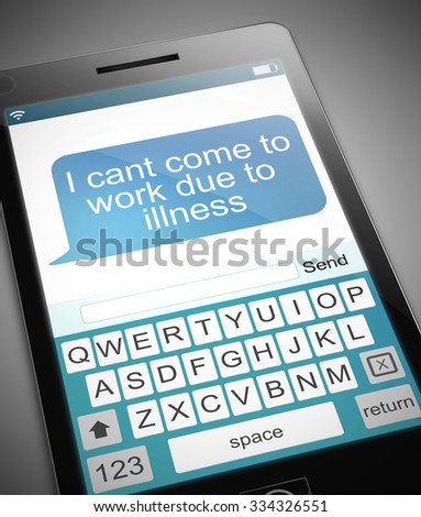 Illustration depicting a phone with a sick day concept. - stock photo