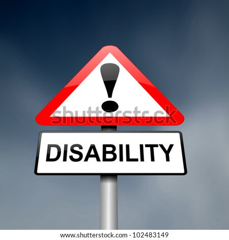 Illustration depicting a red and white triangular warning sign with a 'disability' concept. Dark blurred sky background. - stock photo