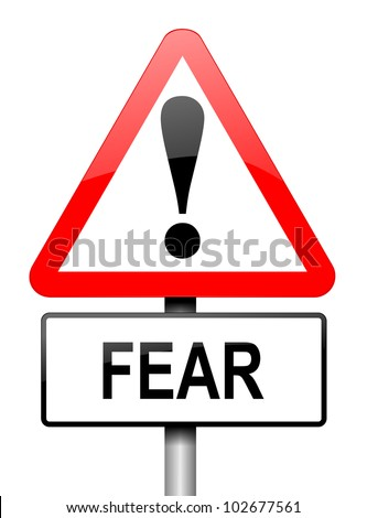Illustration depicting a red and white triangular warning sign with a fear concept. White background.