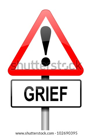 Illustration depicting a red and white triangular warning sign with a grief concept. White background.