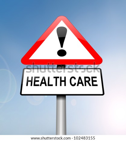 Illustration depicting a red and white triangular warning sign with a 'healthcare' concept. Blurred blue sky background. - stock photo