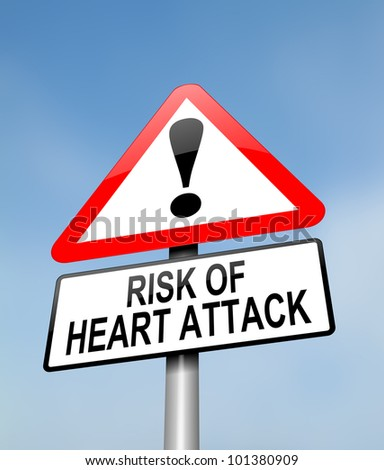 Illustration depicting a red and white triangular warning sign with a heart attack concept. Blurred sky background. - stock photo