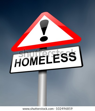Illustration depicting a red and white triangular warning sign with a 'homeless' concept. Dark sky background. - stock photo