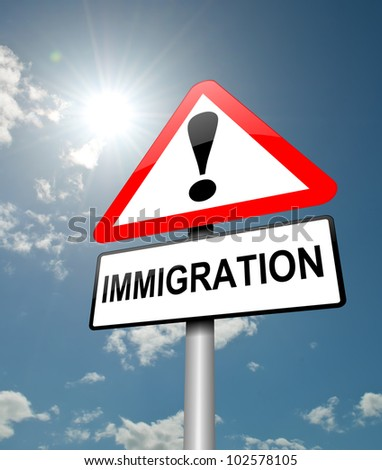 Illustration depicting a red and white triangular warning sign with a immigration' concept. Blue sky background. - stock photo