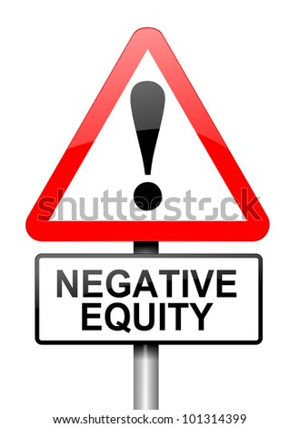 Illustration depicting a red and white triangular warning sign with a negative equity concept. White background.