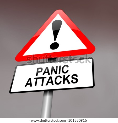 Illustration depicting a red and white triangular warning sign with a panic attack concept. Blurred dark sky background. - stock photo