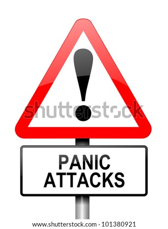 Illustration depicting a red and white triangular warning sign with a panic attack concept. White background.