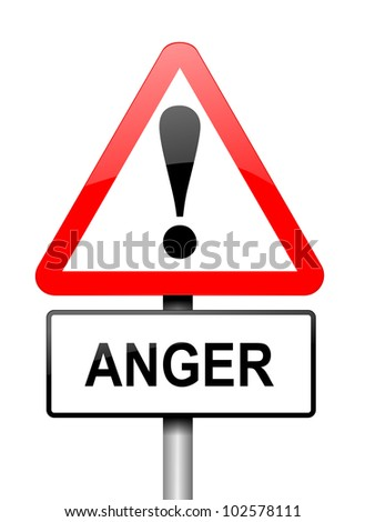 Illustration depicting a red and white triangular warning sign with an 'anger' concept. White background.