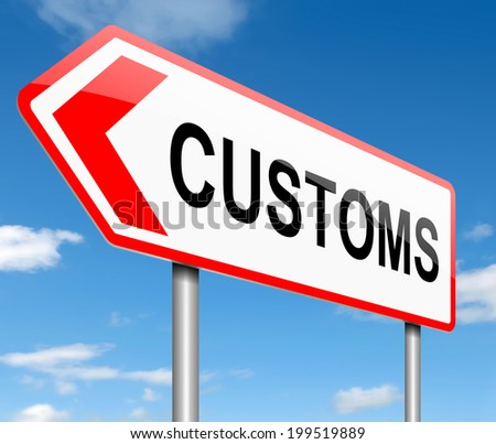 Illustration depicting a road sign with a customs concept. - stock photo