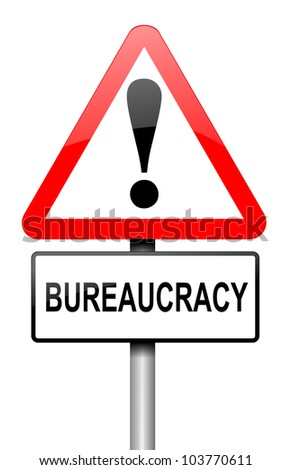 Illustration depicting a road traffic sign with a bureaucracy concept. White background. - stock photo