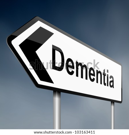 Illustration depicting a road traffic sign with a dementia concept. Blue sky background. - stock photo