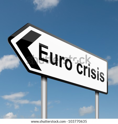 Illustration depicting a road traffic sign with a Euro crisis concept. Blue sky background. - stock photo