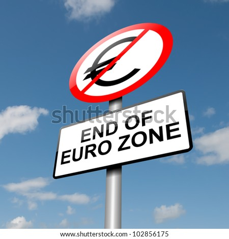 Illustration depicting a road traffic sign with a euro zone end concept. Blue sky background. - stock photo