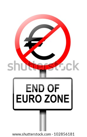 Illustration depicting a road traffic sign with a euro zone end concept. White background. - stock photo