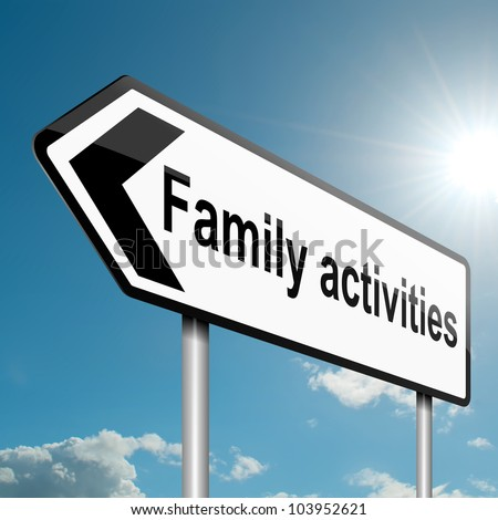 Illustration depicting a road traffic sign with a family activities concept. Blue sky background. - stock photo