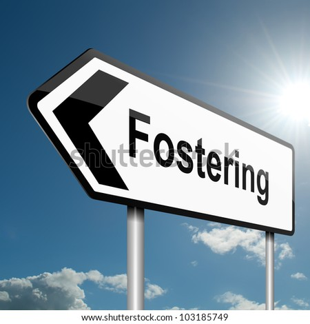 Illustration depicting a road traffic sign with a fostering concept. Blue sky background. - stock photo