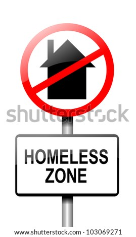 Illustration depicting a road traffic sign with a homeless concept. White background. - stock photo