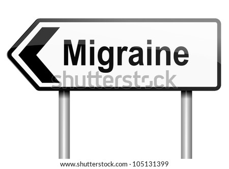 Illustration depicting a road traffic sign with a migraine concept. White background. - stock photo