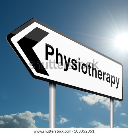Illustration depicting a road traffic sign with a physiotherapy concept. Blue sky background. - stock photo