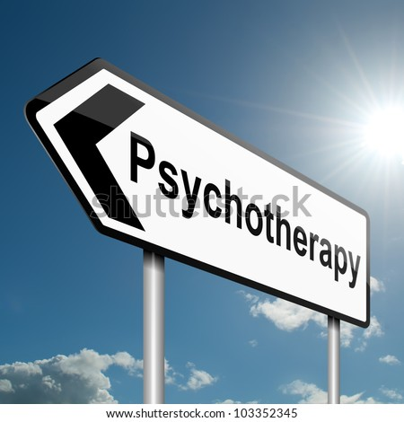 Illustration depicting a road traffic sign with a psychotherapy concept. Blue sky background. - stock photo