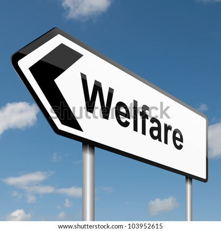 Illustration depicting a road traffic sign with a welfare concept. Blue sky background. - stock photo