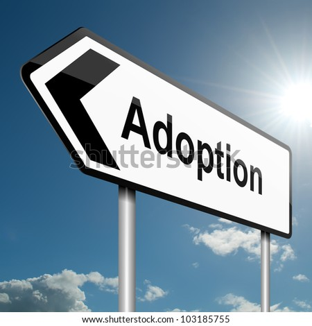 Illustration depicting a road traffic sign with an adoption concept. Blue sky background. - stock photo