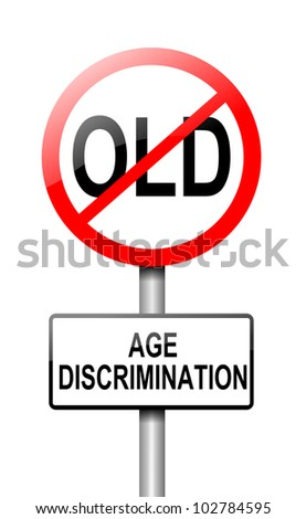 Illustration depicting a road traffic sign with an age discrimination concept. White background.