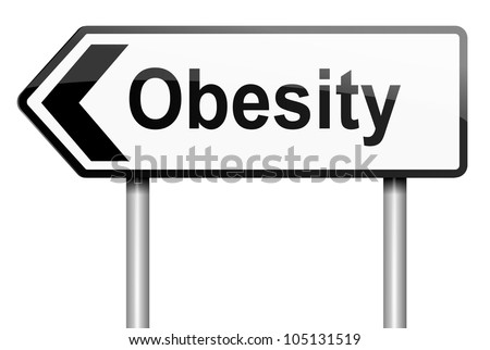 Illustration depicting a road traffic sign with an obesity concept. White background. - stock photo