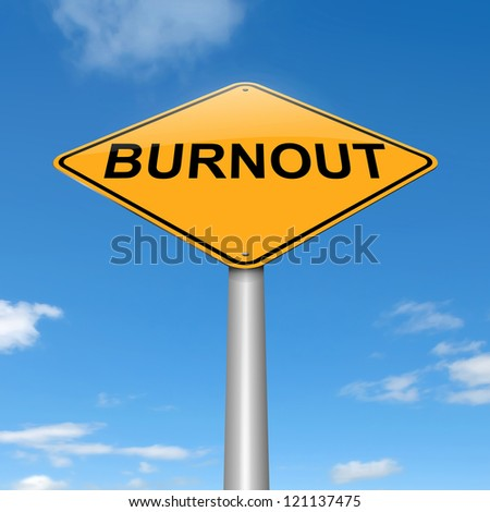 Illustration depicting a roadsign with a burnout concept. Sky background. - stock photo